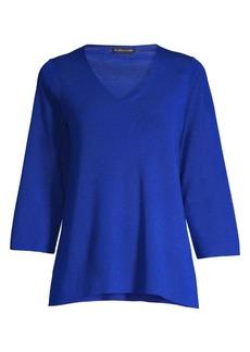 Eileen Fisher Three-Quarter V-Neck Merino Wool Sweater