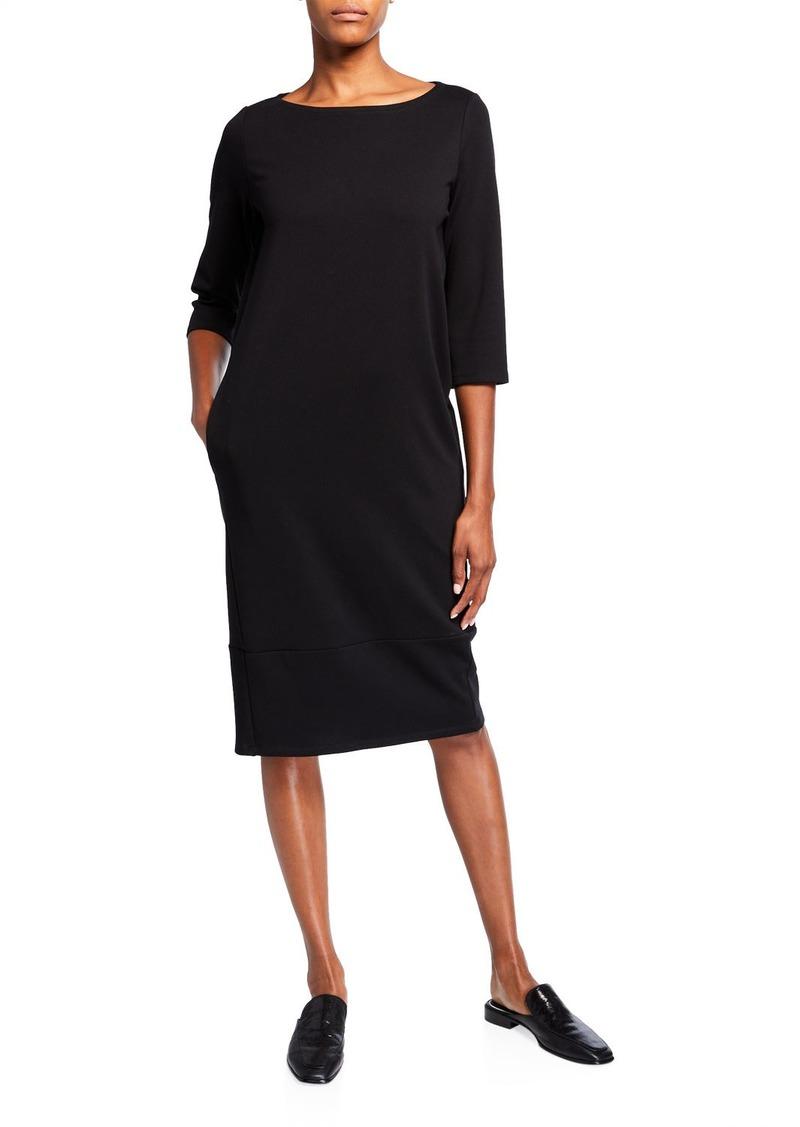 Eileen Fisher Travel Ponte 3/4-Sleeve Dress