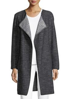 Eileen Fisher Tweed Fray-Edge Long Jacket