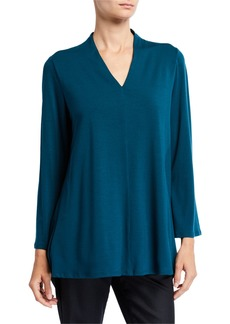 Eileen Fisher V-Neck Bracelet-Sleeve Top