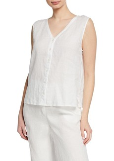 Eileen Fisher V-Neck Button-Front Sleeveless Organic Linen Top