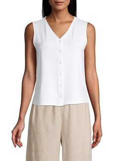 Eileen Fisher V-Neck Button-Up Tank