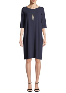 Eileen Fisher V-Neck Elbow-Sleeve Jersey Shift Dress