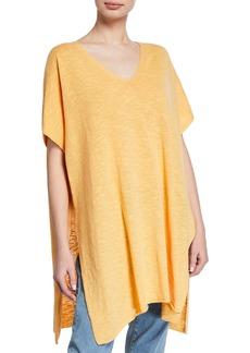 Eileen Fisher V-Neck Linen Slub Tunic Sweater
