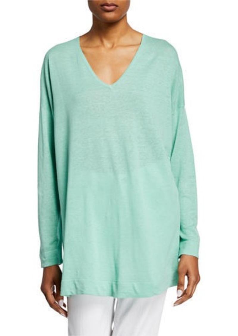 Eileen Fisher V-Neck Long-Sleeve Organic Linen/Cotton Tunic Sweater
