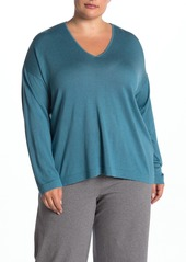 Eileen Fisher V-Neck Long Sleeve Silk Blend Sweater (Plus Size)