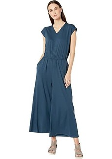 Eileen Fisher V-Neck Short Sleeve Ankle Jumpsuit