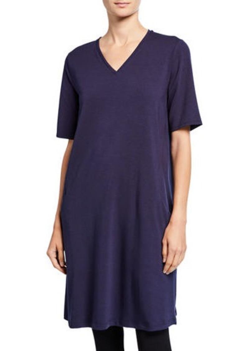Eileen Fisher V-Neck Short-Sleeve Jersey Dress