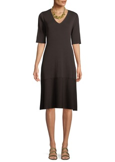 Eileen Fisher V-Neck Short-Sleeve Tencel® A-line Dress