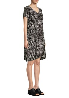 Eileen Fisher V-Neck Silk Print Dress
