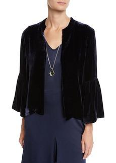 Eileen Fisher Velvet 3/4-Sleeve Open-Front Short Jacket