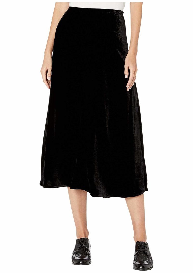 Eileen Fisher Velvet A-Line Calf Length Skirt with Side Split