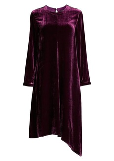 Eileen Fisher Velvet Asymmetric Long-Sleeve Dress