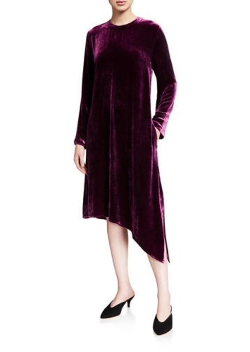 Eileen Fisher Velvet Jewel-Neck Long-Sleeve Asymmetrical Midi Dress