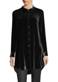 Eileen Fisher Velvet Mandarin-Collor Tunic Shirt