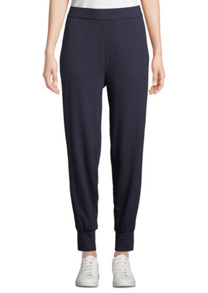 Eileen Fisher Plus Size Velvet Side-Stripe Terry Track Pants