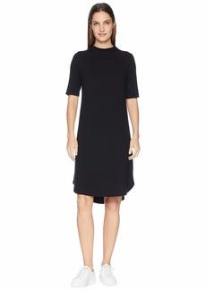 Eileen Fisher Viscose Jersey Drape Neck Elbow Sleeve Dress