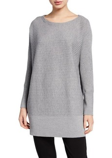 Eileen Fisher Washable Wool Bateau-Neck Ribbed Tunic Sweater