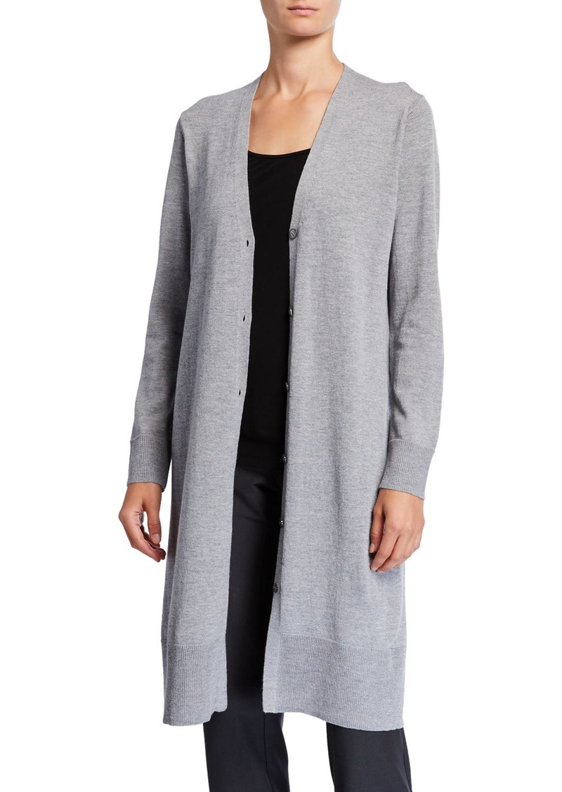 Eileen Fisher Washable Wool Crepe V-Neck Button-Front Long Cardigan