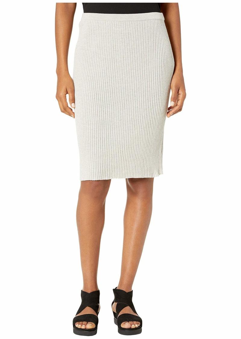 Eileen Fisher Washable Wool Rib Knee Length Skirt