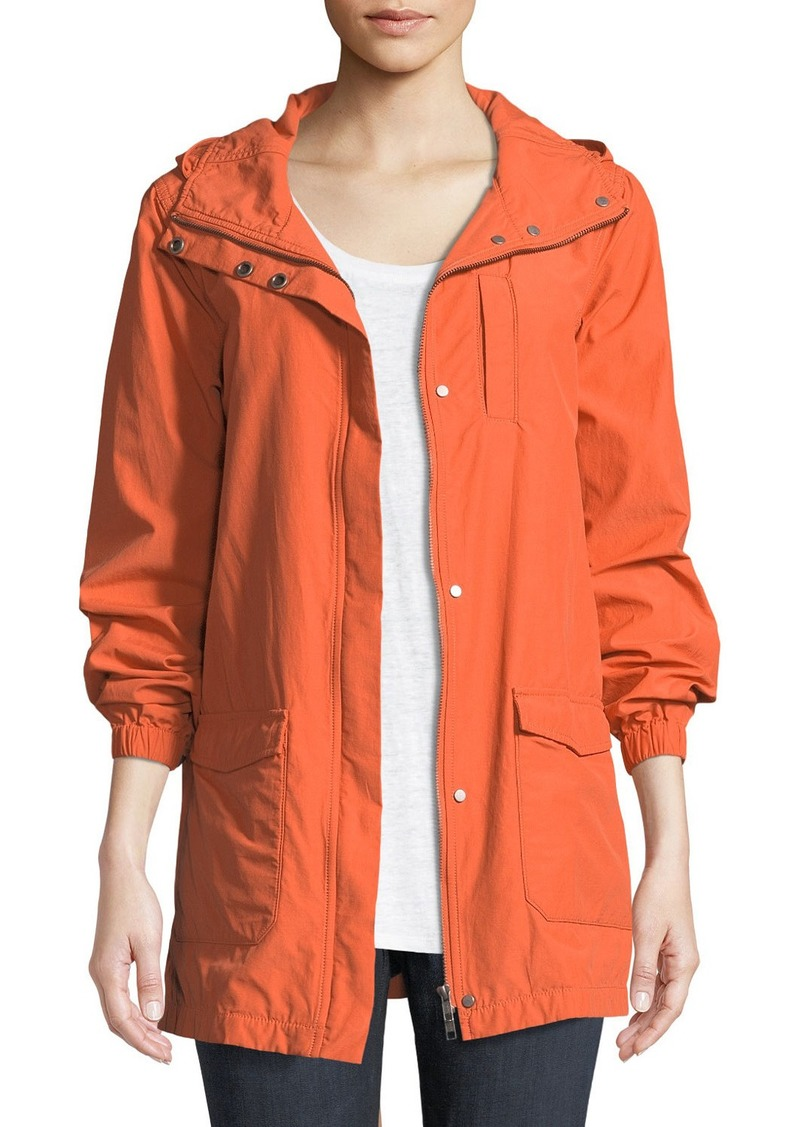 Eileen Fisher Washed Organic Cotton-Blend Hooded Anorak Jacket