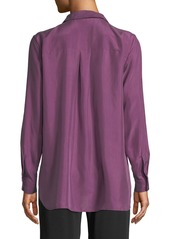 Eileen Fisher Washed Silk Habutai Long-Sleeve Button-Front Blouse