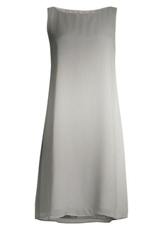 Eileen Fisher Watercolor Silk Sheer Bateau Neck Dress
