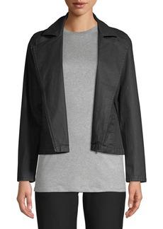 Eileen Fisher Waxed Cotton Moto Jacket