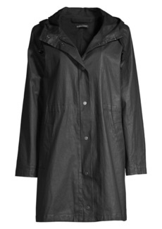 Eileen Fisher Waxed Organic Cotton Hooded Coat
