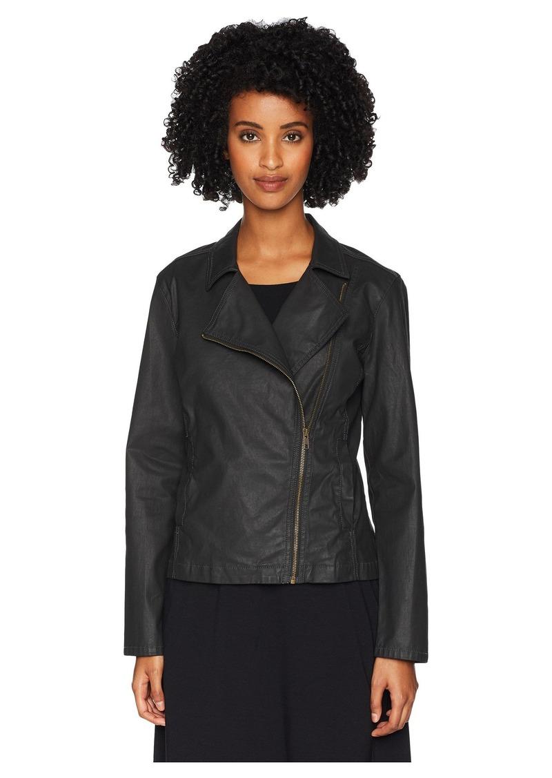 Eileen Fisher Waxed Organic Cotton Stretch Twill Stand Collar Short Zip Jacket