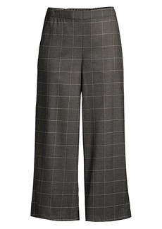 Eileen Fisher Windowpane Check Heathered Flannel Wide-Leg Pants