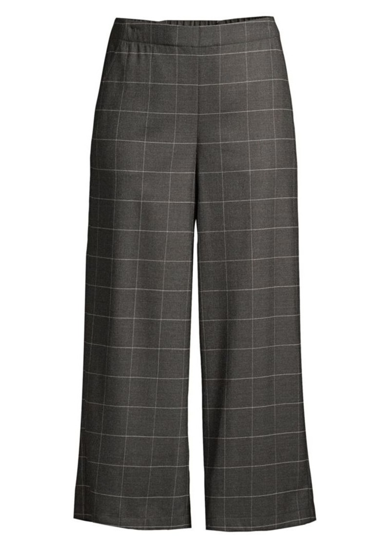 Eileen Fisher Windowpane Check Heathered Flannel Wide-Leg Pants