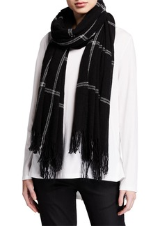 Eileen Fisher Windowpane Wool/Cashmere Scarf