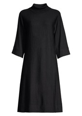 Eileen Fisher Wool Mockneck Three-Quarter Sleeve Dress
