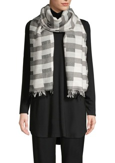 Eileen Fisher Wool Organic Cotton Check Scarf