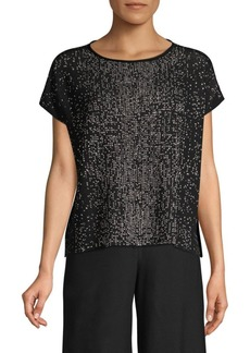 Eileen Fisher Woven Graphic Boat Neck Top