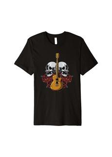 Electric Guitar Skull Red Roses - E-Guitar Rock Guitarist Premium T-Shirt