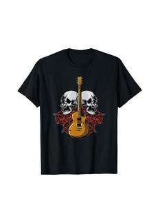 Electric Guitar Skull Red Roses - E-Guitar Rock Guitarist T-Shirt