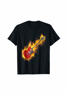 Electric Rock Guitar on Fire with Skull Headstock T Shirt