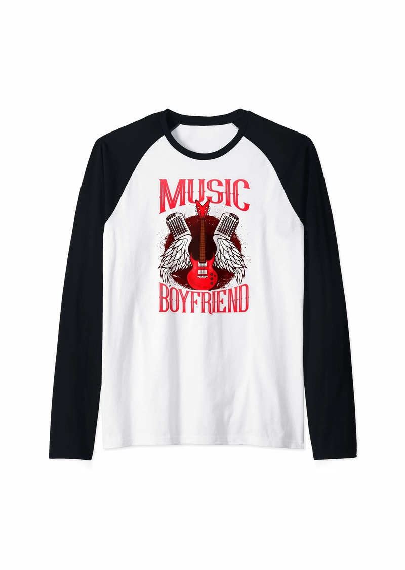 Music Is My Boyfriend Electric Guitar  Raglan Baseball Tee