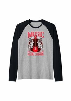 Electric Music Is My Second Language Guitar Musician Gift Guitarist Raglan Baseball Tee
