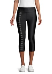 Electric Star-Embellished Cropped Leggings