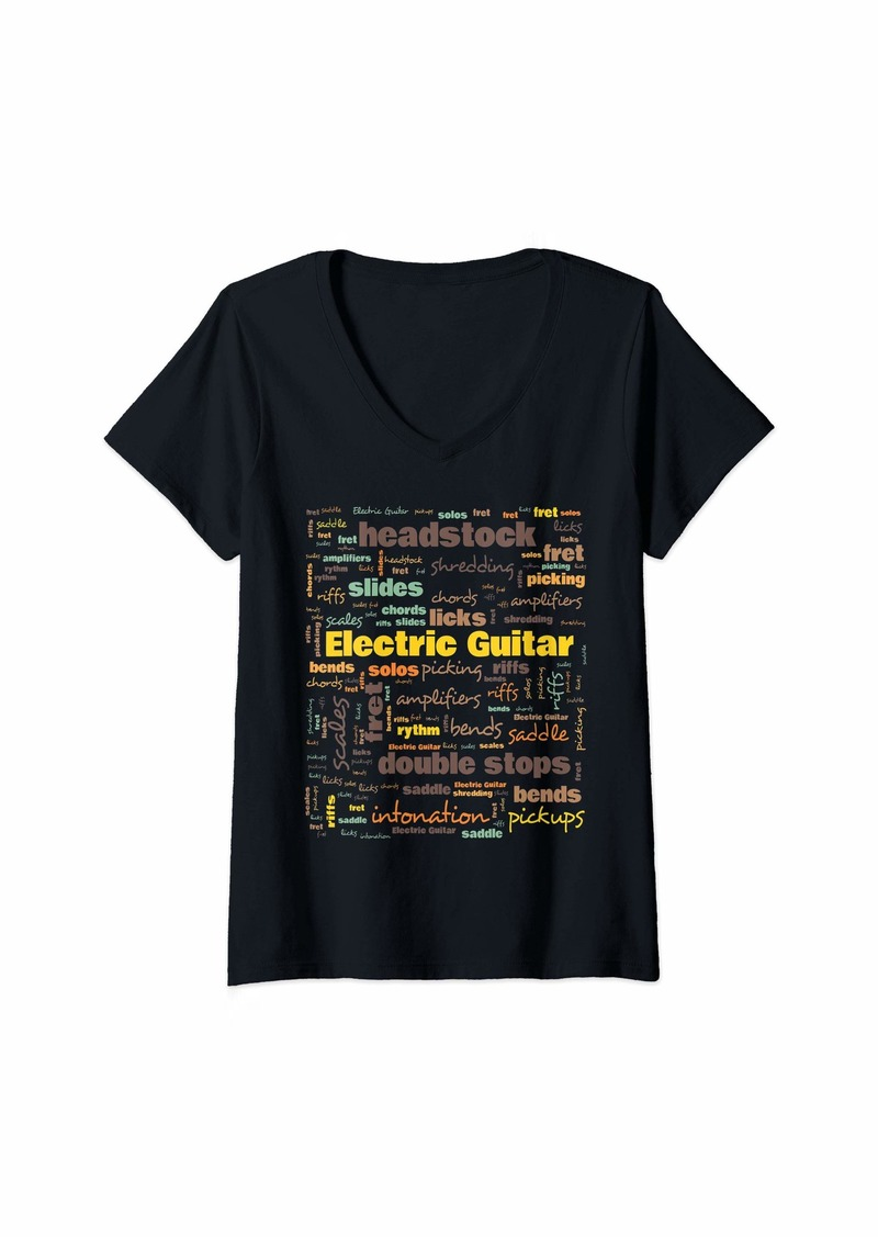 Womens Electric Guitar Players Terminology Musicians Gift V-Neck T-Shirt