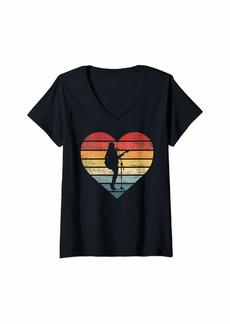 Electric Womens Singer Vocalist Guitarist Gifts Retro Sunset Guitar Singing V-Neck T-Shirt