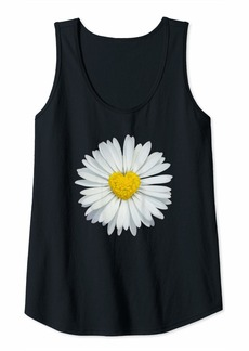 Electric Womens White and Yellow Heart Daisy T-Shirt Flower Rave Tank Top Tank Top