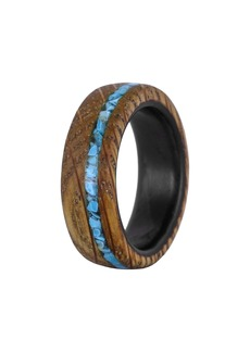 Element Ring Co. Whiskey Barrel Wood & Turquoise Ring