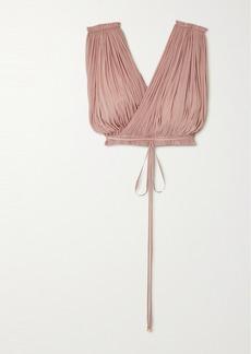 Elena Makri Antigone Cropped Draped Silk-tulle Top