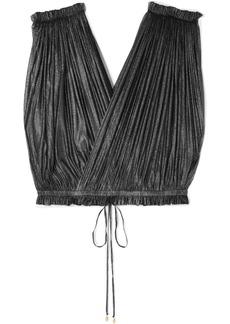 Elena Makri Antigone Cropped Pleated Metallic Silk-tulle Wrap Top