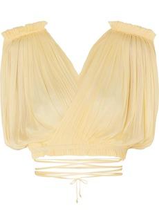 Elena Makri Antigone Cropped Pleated Silk-tulle Wrap Top