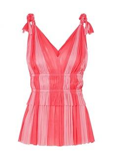 Elena Makri Aphrodite Two-tone Pleated Silk-tulle Top